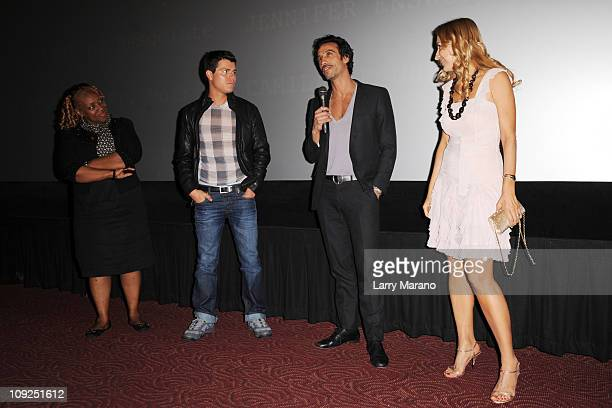Avery Somers Carlos Leon and Elika Portnoy attend the Miami screening of Immigration Tango at AMC Sunset Place on February 17 2011 in Miami Florida