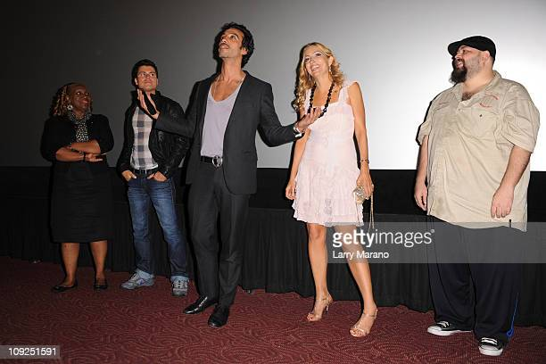 Avery Somers Carlos Leon Elika Portnoy and a member of the cast attend the Miami screening of Immigration Tango at AMC Sunset Place on February 17...