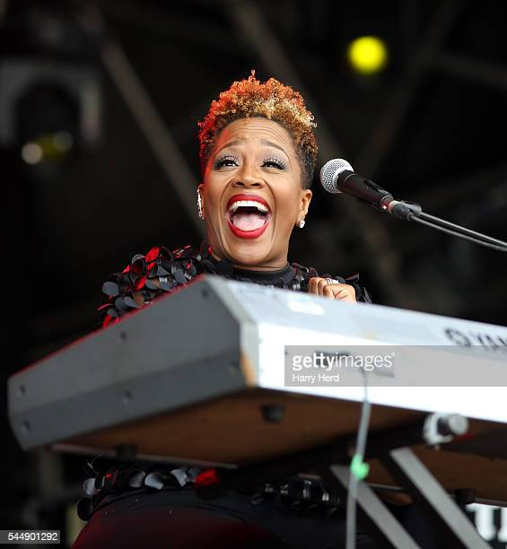 Avery Sunshine performs at Love Supreme Jazz Festival at Glynde Place on July 3 2016 in Lewes England