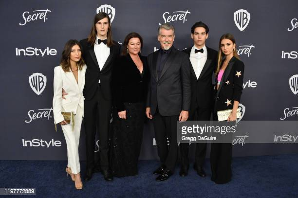 Avery Wheless Dylan Brosnan Keely Brosnan Pierce Brosnan Paris Brosnan and Alex Lee Aillón attends the 21st Annual Warner Bros And InStyle Golden...