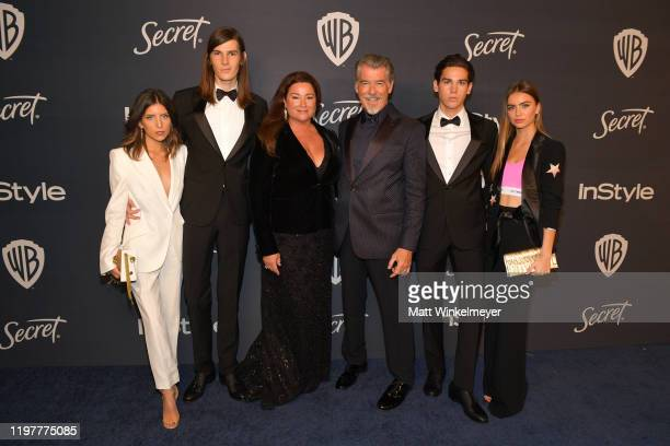 Avery Wheless, Dylan Brosnan, Keely Brosnan, Pierce Brosnan, Paris Brosnan and Alex Lee Aillón attend The 2020 InStyle And Warner Bros. 77th Annual...