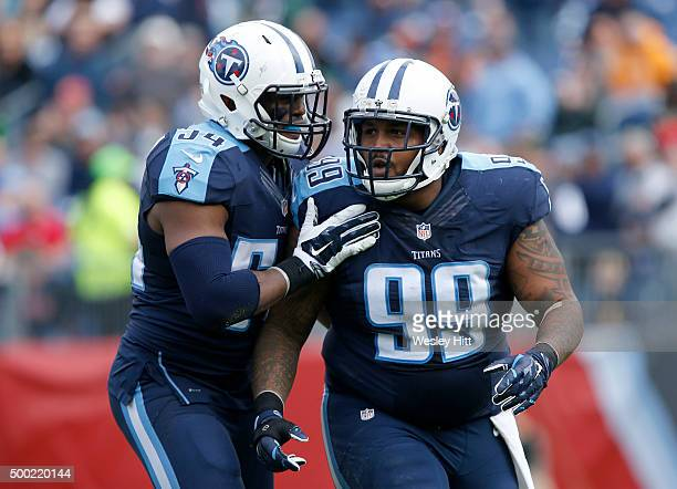Avery Williamson and Jurrell Casey of the Tennessee Titans celebrate during the game against the Jacksonville Jaguars during the game at Nissan...