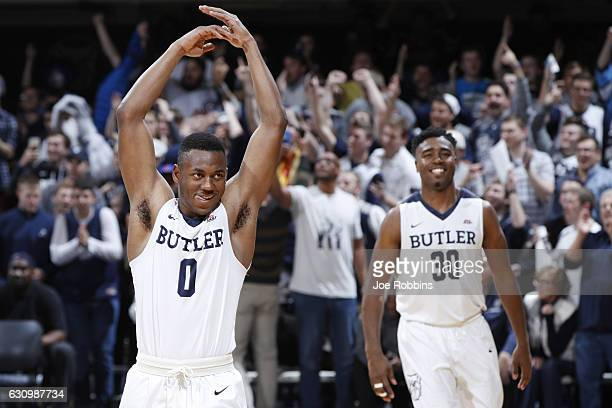 Avery Woodson and Kelan Martin of the Butler Bulldogs celebrate in the closing seconds of the game against the Villanova Wildcats at Hinkle...