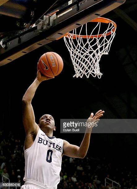Avery Woodson of the Butler Bulldogs attempts a layup against the Vermont Catamounts in the second half at Hinkle Fieldhouse on December 21 2016 in...