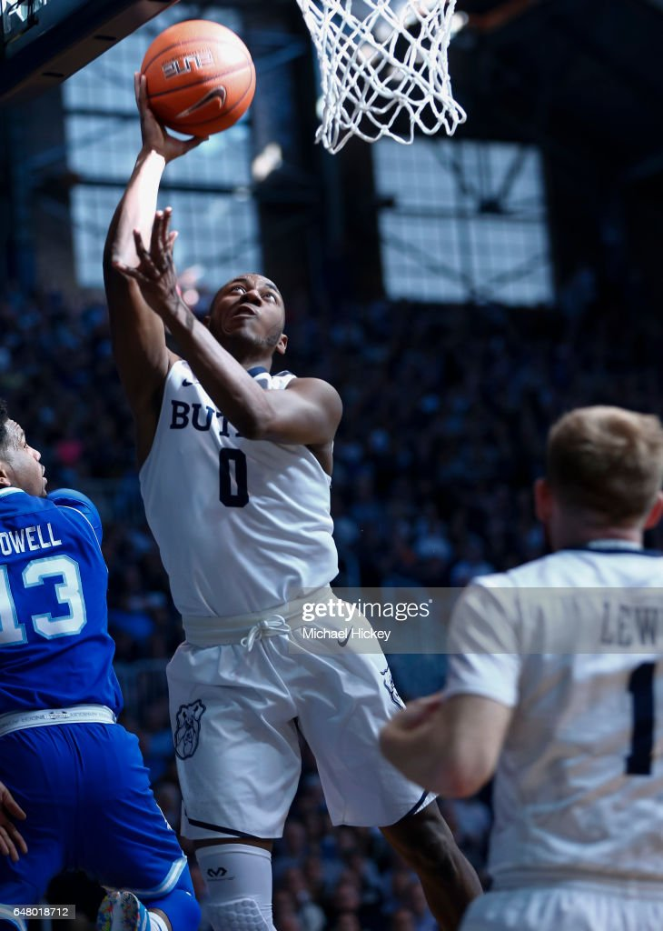 Avery Woodson #0 of the Butler Bulldogs shoots the ball against the Seton Hall Pirates at Hinkle Fieldhouse on March 4, 2017 in Indianapolis, Indiana.