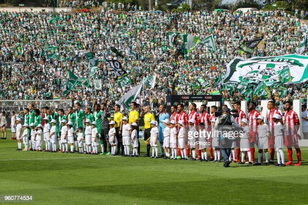 CD Aves and Sporting CP teams line up during the Portuguese Cup Final match between CD Aves and Sporting CP at Estadio Nacional on May 20 2018 in...