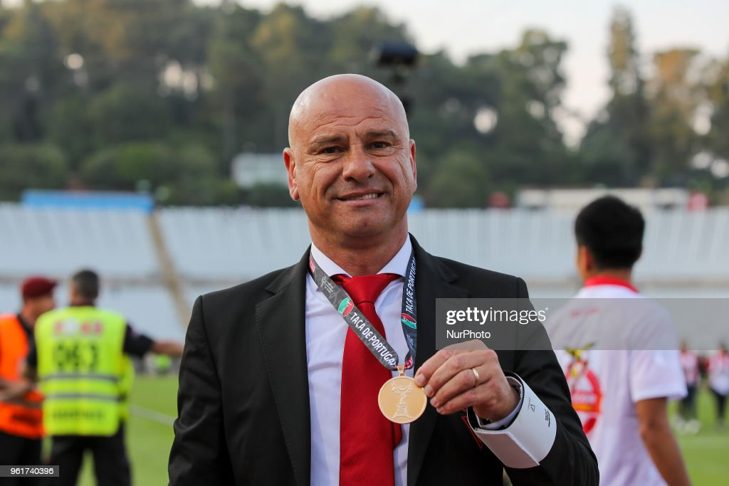 CD Aves coach Jose Mota from Portugal celebrates wining the Portuguese Cup Final match between CD Aves and Sporting CP at Estadio Nacional on May 20, 2018 in Oeiras, Lisboa.