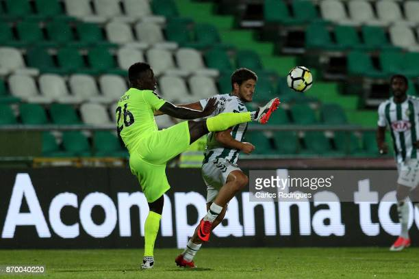 Aves defender Carlos Ponck from Cabo Verde vies with Vitoria Setubal forward Goncalo Paciencia from Portugal for the ball possession during the match...