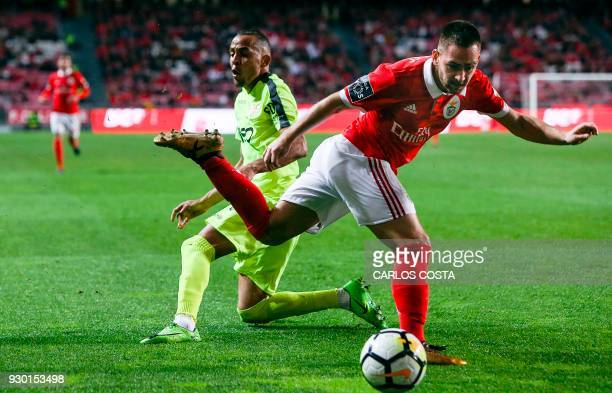 Aves' defender Nildo Petrolina vies with Benfica's Serbian midfielder Andrija Zivkovic during the Portuguese league football match between SL Benfica...