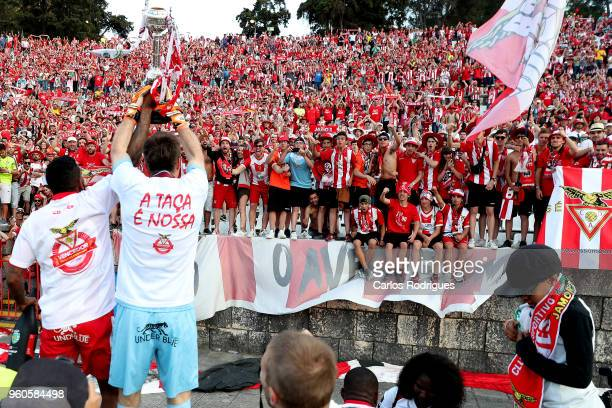 Aves forward Amilton Silva from Brasil and CD Aves goalkeeper Adriano Facchini from Brazil celebrating with the supporters wining the Portuguese Cup...