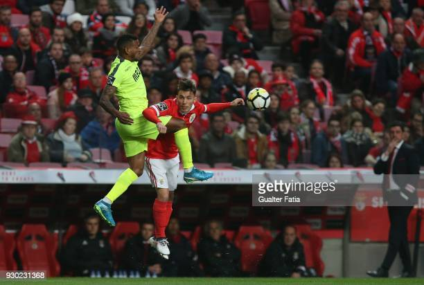 Aves forward Amilton Silva from Brazil with SL Benfica defender Alejandro Grimaldo from Spain in action during the Primeira Liga match between SL...