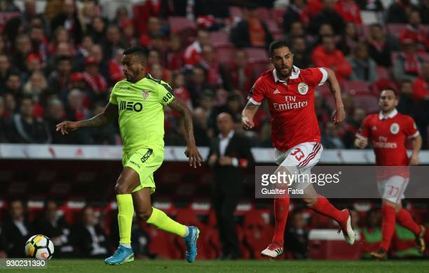 Aves forward Amilton Silva from Brazil with SL Benfica defender Jardel Vieira from Brazil in action during the Primeira Liga match between SL Benfica...