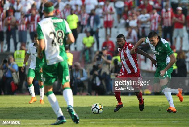 Aves forward Amilton Silva from Brazil with Sporting CP midfielder Rodrigo Battaglia from Argentina in action during the Portuguese Cup Final match...