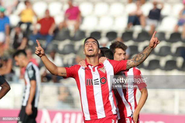 Aves forward Cristian Arango from Colombia celebrates scoring Aves second goal during the match between Portimonense SC and Deportivo das Aves for...