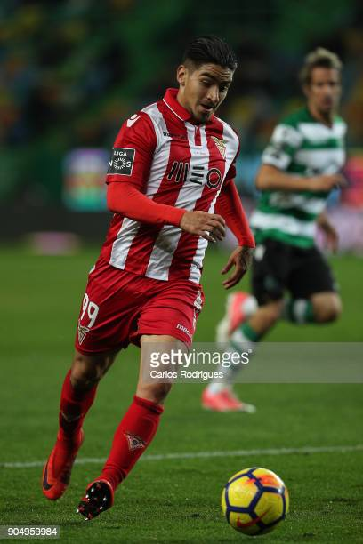 Aves forward Cristian Arango from Colombia during the Portuguese Primeira Liga match between Sporting CP and GD Chaves at Estadio Jose Alvalade on...