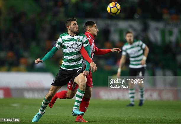Aves forward Cristian Arango from Colombia with Sporting CP defender Cristiano Piccini from Italy in action during the Primeira Liga match between...