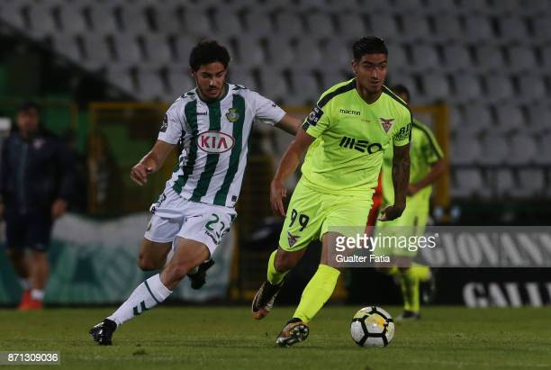 Aves forward Cristian Arango from Colombia with Vitoria Setubal midfielder Tomas Podstawski from Portugal in action during the Primeira Liga match...