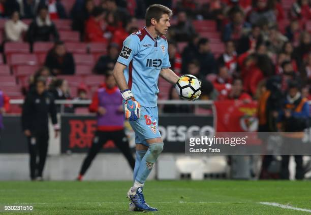 Aves goalkeeper Adriano Facchini from Brazil in action during the Primeira Liga match between SL Benfica and CD Aves at Estadio da Luz on March 10...