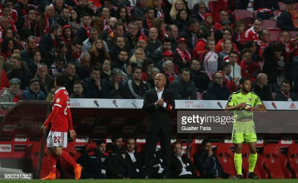 Aves head coach Jose Mota in action during the Primeira Liga match between SL Benfica and CD Aves at Estadio da Luz on March 10 2018 in Lisbon...