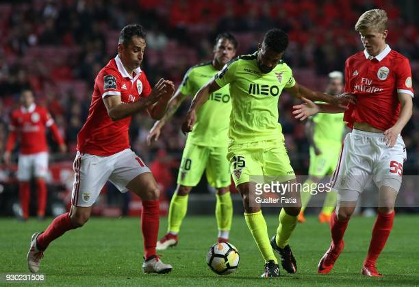 Aves midfielder Fernando Tissone from Argentina with SL Benfica midfielder Keaton Parks from United States of America and SL Benfica forward Jonas...