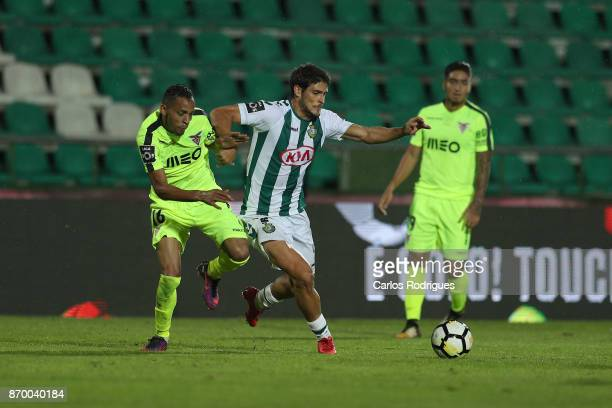 Aves midfielder Nildo Petrofina from Brazil tries to stop Vitoria Setubal forward Goncalo Paciencia from Portugal during the match between Vitoria de...
