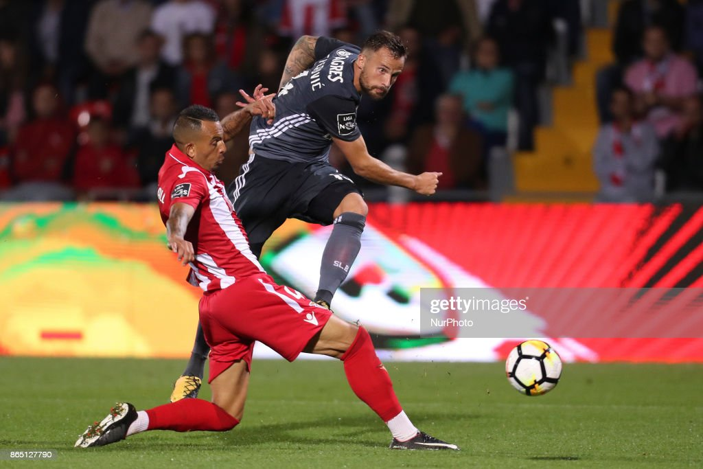Ave´s player Diego Galo (L) with Benfica's Switzerland forward Haris Seferovic (R) during the Premier League 2017/18 match between CD Aves and SL Benfica, at Estadio do Clube Desportivo das Aves in Aves on October 22, 2017.