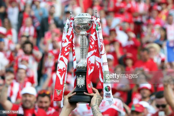 Aves' players celebrate with their trophy after winning the Portugal Cup Final football match CD Aves vs Sporting CP at the Jamor stadium in Oeiras...