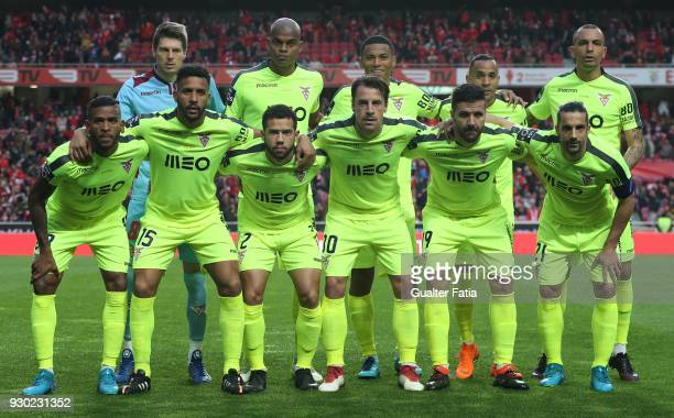 Aves players pose for a team photo before the start of the Primeira Liga match between SL Benfica and CD Aves at Estadio da Luz on March 10 2018 in...