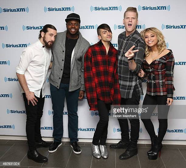 Avi Kaplan Kevin Olusola Mitch Grassi Scott Hoying and Kristin Maldonado of Pentatonix visit at SiriusXM Studios on October 16 2015 in New York City