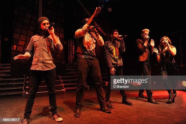 Avi Kaplan Kirstie Maldonado Scott Hoying Mitch Grassi and Kevin Olusola of Pentatonix perform on stage at Shepherds Bush Empire on April 24 2014 in...