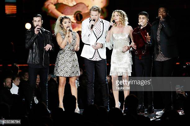 Avi Kaplan Kirstin Maldonado Scott Hoying Jennifer Nettles Mitch Grassi and Kevin Olusola of Pentatonix perform onstage during the 50th annual CMA...