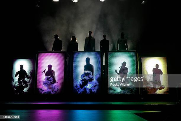 Avi Kaplan Kirstin Maldonado Scott Hoying Mitch Grassi and Kevin Olusola perform as Pentatonix at SAP Center on October 17 2016 in San Jose California