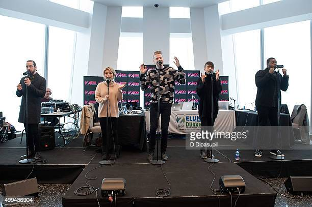 Avi Kaplan Kirstin Maldonado Scott Hoying Mitch Grassi and Kevin Olusola of Pentatonix perform during 'The Elvis Duran Z100 Morning Show' at One...