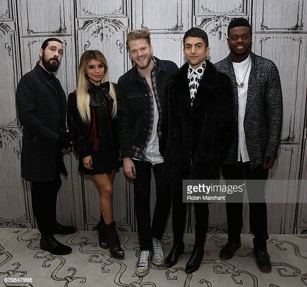 Avi Kaplan Kirstin Maldonado Scott Hoying Mitch Grassi and Kevin Olusola of Pentatonix Build Presents 'A Pentatonix Christmas Special' at AOL HQ on...