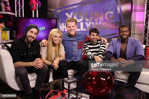 Avi Kaplan Kristie Maldonado Scott Hoying Mitch Grassi Kevin Olusola from Pentatonix and host Oliver Tevena visits the Young Hollywood Studio on...