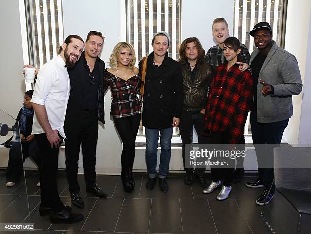 Avi Kaplan Kristin Maldonado Mitch Grassi Scott Hoying and Kevin Olusola of Pentatonix and Isaac Hanson Taylor Hason and Zac Hanson of Hanson visit...