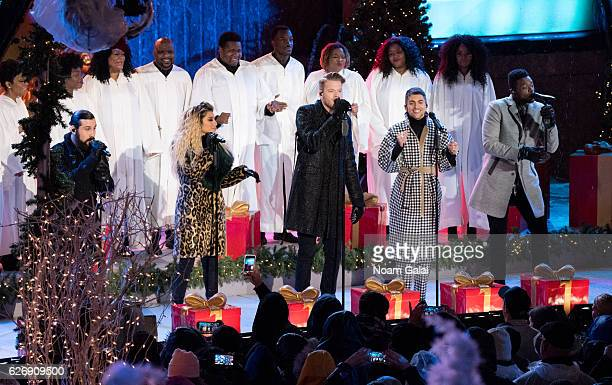Avi Kaplan Scott Hoying Kirstin Maldonado Kevin Olusola and Mitch Grassi of Pentatonix perform at the 84th Rockefeller Center Christmas Tree Lighting...