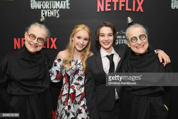 Avi Lake Dylan Kingwell Jacqueline Robbins and Joyce Robbins attend the Netflix Premiere of 'A Series of Unfortunate Events' Season 2 on March 29...