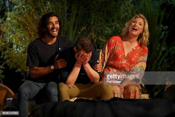 Avi reacts as he wins Survivor NZ with Tom and Barb during the Survivor NZ Live Final at Civic Theatre on July 5 2017 in Auckland New Zealand