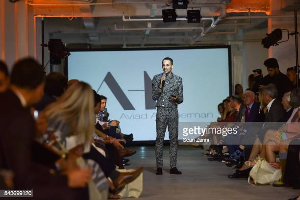 Aviad Arik Herman attends OR Movement Tahor Group Present NYFW Desert Flower by Matan Shaked Keren Wolf and Aviad Arik Herman at 666 Fifth Avenue on...