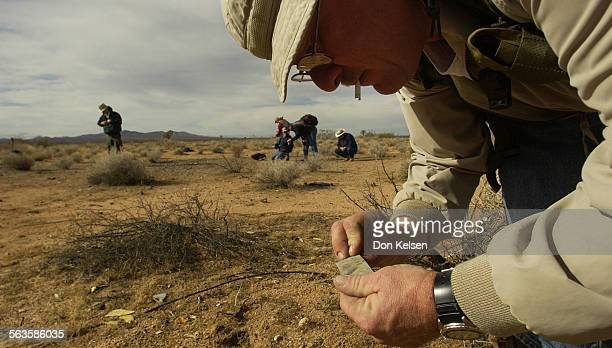 Aviation archaeologist David Schurhammer of Fullerton searching desert floor with friends during recent visit to a 1945 crash site of B–24L Liberator...