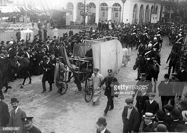 Aviation beginnings France Monoplane Bleriot XI with which Louis Bleriot crossed the channel July 25 1909 on its way to the 'Conservatoire des Arts...