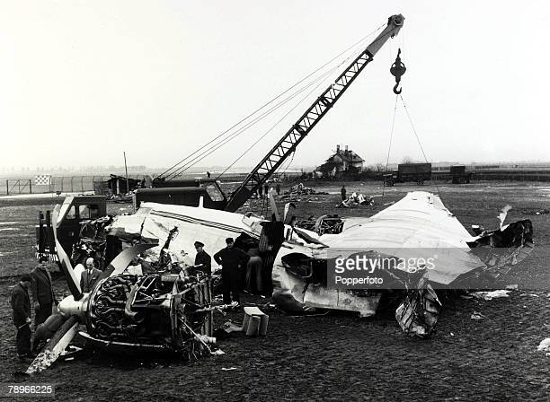 circa 15th February 1958 The wreckage of the BEA aircraft which had crashed at Munich in which 23 people died 8 being Manchester United footballers...