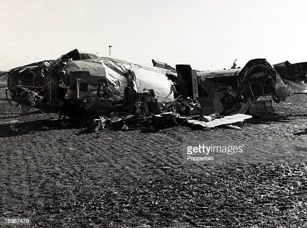 circa 15th February 1958 The wreckage of the BEA Elizabethan airliner GALZU 'Lord Burghley' after the crash at Munich in which 23 people died 8 being...