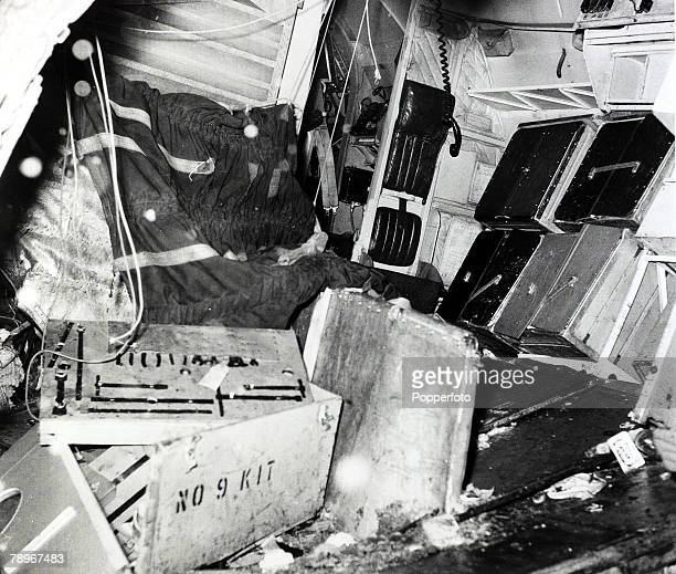 February 1958 The interior of the BEA Elizabethan airliner GALZU 'Lord Burghley' after the crash at Munich in which 23 people died 8 being Manchester...