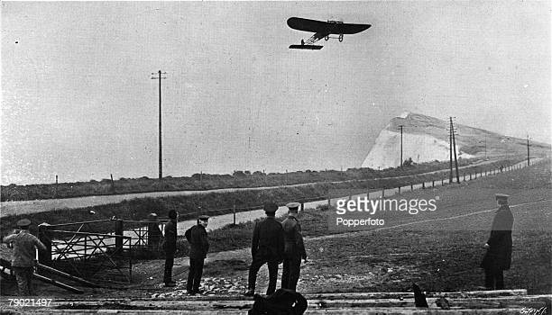 Aviation Dover England French aviator and aeronautics engineer Louis Bleriot is pictured in his aeroplane after he became the first person to fly...