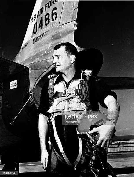 1950's US test pilot George Smith pictured before his air accident when he used his ejector seat at supersonic speed He was forced to bail out of his...
