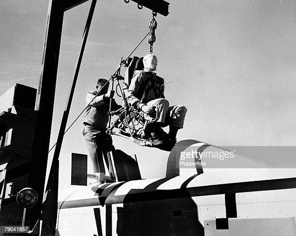 circa 1956 A man sized dummy is used to test the effects of supersonic seat ejection on human pilots USpilot George Smith's experiences in being the...