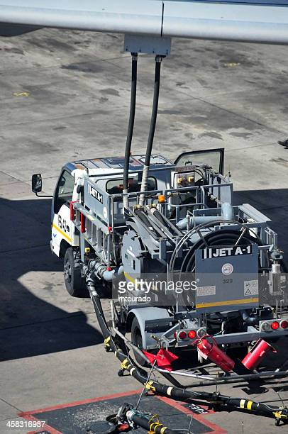 aviation fuel truck refuelling an Airbus A340