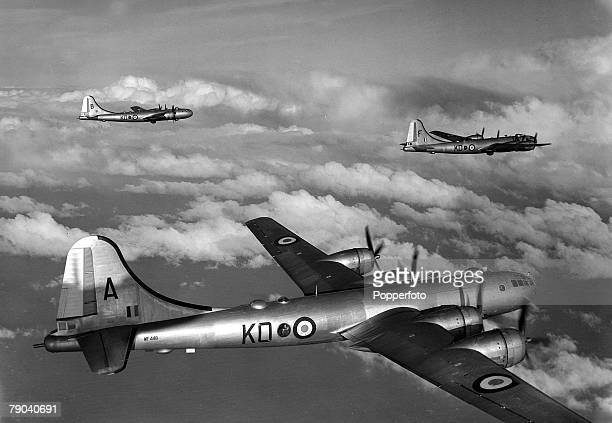 """Aviation, Military Aircraft Three R,A,F, Bomber Command Boeing B-29's the """"Superfortress"""" during a training flight to Heligoland"""